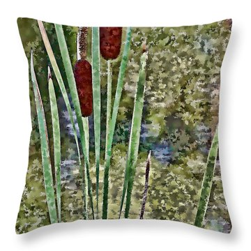 Throw Pillow featuring the photograph Cattails Along The Pond by Don Schwartz