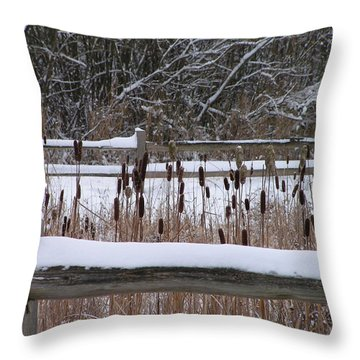 Cattails In The Pond Throw Pillow