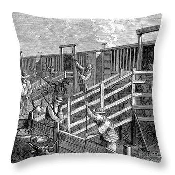 Cattle Drive, 1874 Throw Pillow by Granger