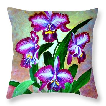 Throw Pillow featuring the painting Cattleya Orchid by Fram Cama