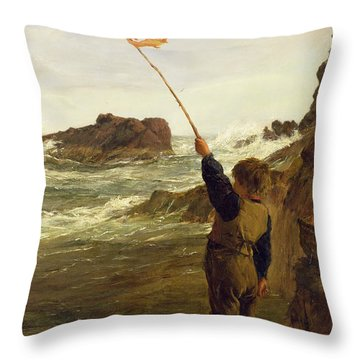 Caught By The Tide Throw Pillow by James Clarke Hook