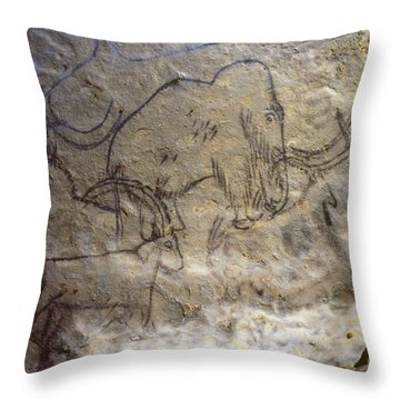 Cave Art - Mammoth And Ibexes Throw Pillow by Granger