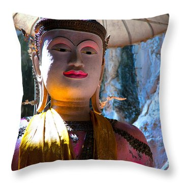 Cave Buddha Throw Pillow by Adrian Evans