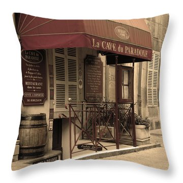 Cave Du Paradoxe Wine Shop In Beaune France Throw Pillow by Greg Matchick