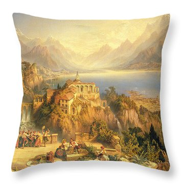 Celebrating The Grape Harvest Lake Orta North Italy Throw Pillow by John Bell
