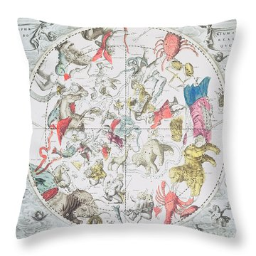 Celestial Planisphere Showing The Signs Of The Zodiac Throw Pillow by Andreas Cellarius