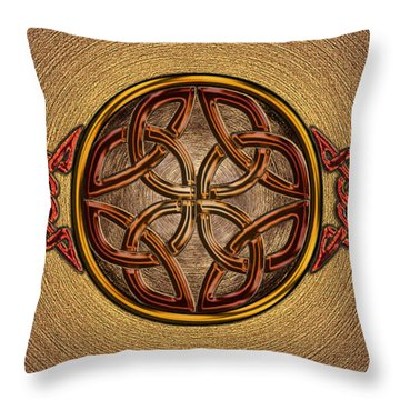Throw Pillow featuring the mixed media Celtic Knotwork Enamel by Kristen Fox