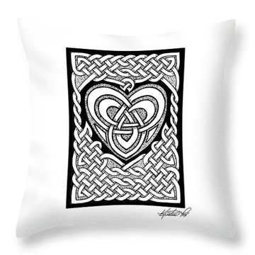 Celtic Knotwork Heart Throw Pillow by Kristen Fox