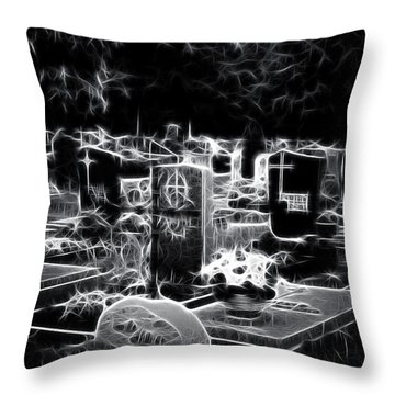 Cemetary At Night Throw Pillow by Ellen Heaverlo