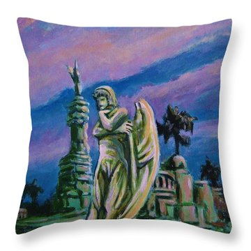 Cemetary Guardian Throw Pillow by John Malone