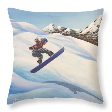 Central Oregon Snowboarding Throw Pillow by Janice Smith