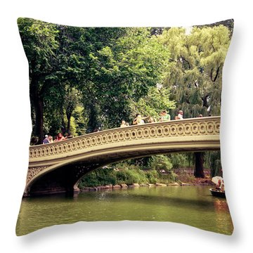 Central Park Romance - Bow Bridge - New York City Throw Pillow by Vivienne Gucwa