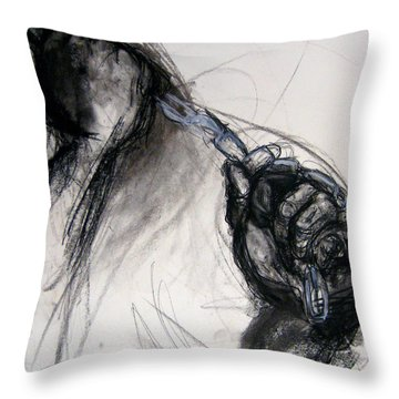 Throw Pillow featuring the drawing Chain by Gabrielle Wilson-Sealy