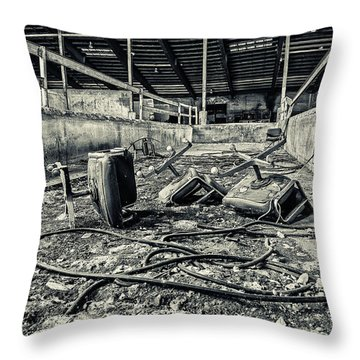 Chairs Undone Throw Pillow by CJ Schmit