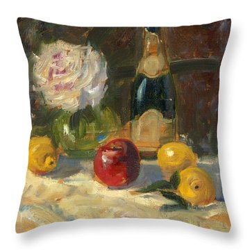 Champagne And Roses Throw Pillow by Marlyn Boyd