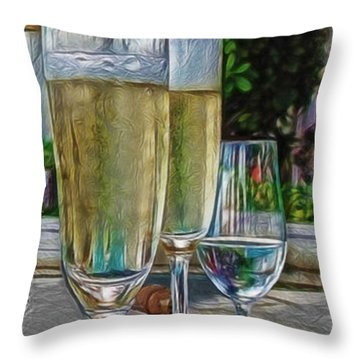 Champagne At The Beach Throw Pillow by Joan  Minchak