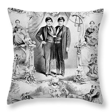 Chang And Eng Bunker, The Original Throw Pillow by Science Source