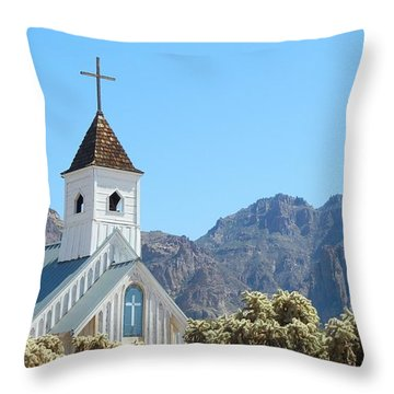 Throw Pillow featuring the photograph Chapel In Superstitions by Penny Meyers