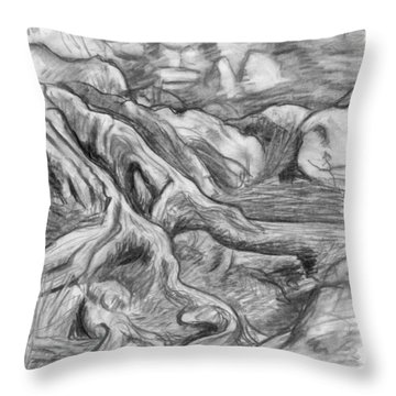 Charcoal Drawing Of Gnarled Pine Tree Roots In Swampy Area Throw Pillow by Adam Long