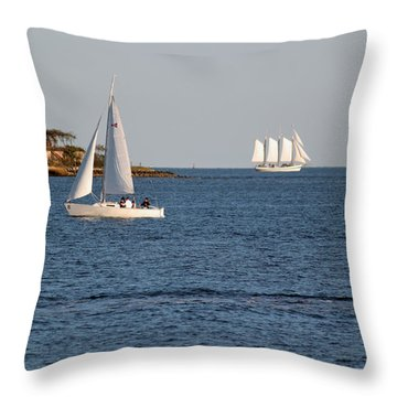 Charleston Harbor Scenic Throw Pillow by Suzanne Gaff