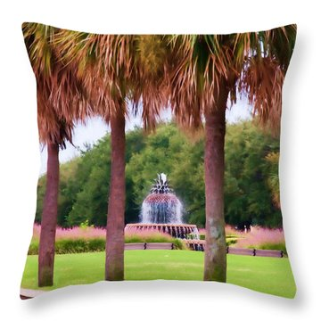Charleston Pineapple Fountain Throw Pillow