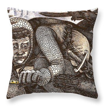 Chased By Brigands Throw Pillow