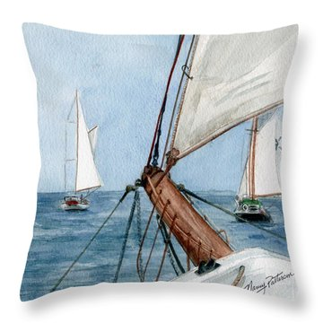 Throw Pillow featuring the painting Chasing The North Wind by Nancy Patterson