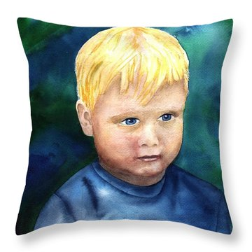 Throw Pillow featuring the painting Chayton by Sharon Mick