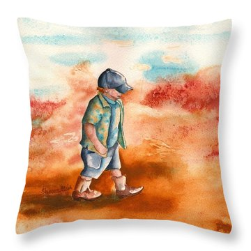 Throw Pillow featuring the painting Chayton's Boots by Sharon Mick