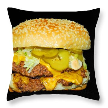Cheeseburger Throw Pillow by Cindy Manero