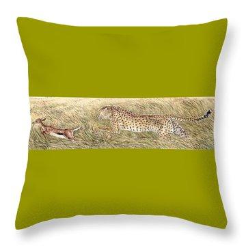 Cheetah And Gazelle Fawn Throw Pillow by Tim McCarthy