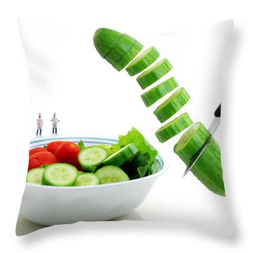 Chefs Making Salad Throw Pillow by Paul Ge