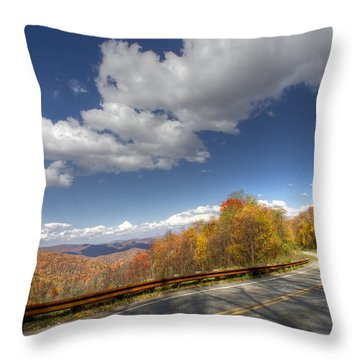 Cherohala Skyway Throw Pillow by Debra and Dave Vanderlaan