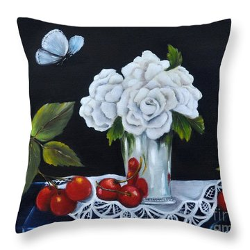 Throw Pillow featuring the painting Cherries And Roses by Carol Sweetwood