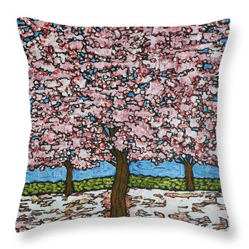 Cherry Blossom Trio Throw Pillow by Tracy Levesque