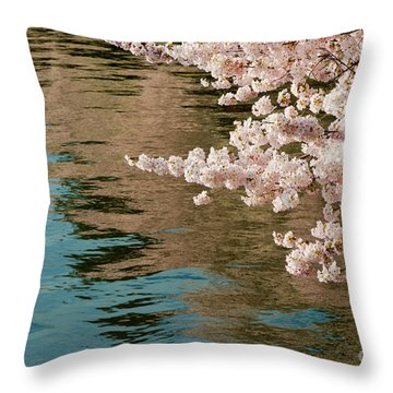 Cherry Blossoms And Reflections Throw Pillow