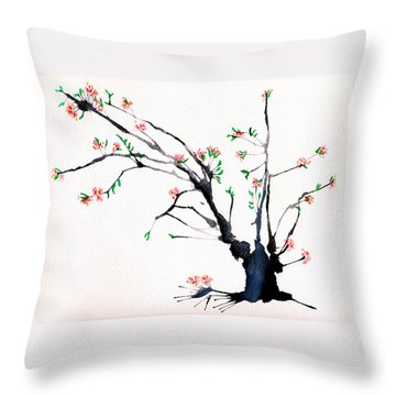Cherry Tree By Straw Throw Pillow