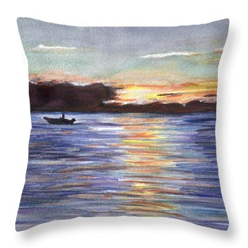 Throw Pillow featuring the painting Chesapeake Dusk Boat Ride by Clara Sue Beym