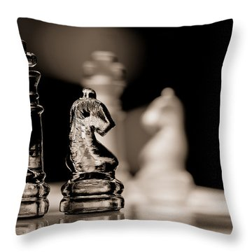 Chess King And Knight Throw Pillow