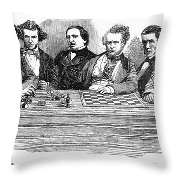 Chess Players, 1855 Throw Pillow by Granger