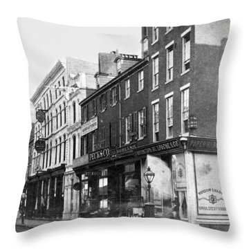 Chestnut Street - South Side Of Philadelphia - C 1870 Throw Pillow by International  Images