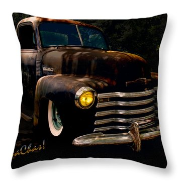 Chevy Hot Rat Rod Pickup Cowgirl's Last Stand Throw Pillow