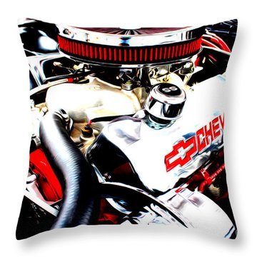 Throw Pillow featuring the digital art Chevy Power Plant by Tony Cooper