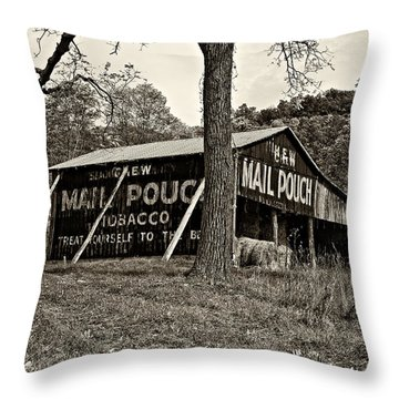 Chew Mail Pouch Sepia Throw Pillow by Steve Harrington