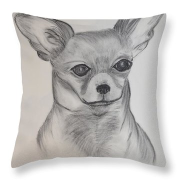 Throw Pillow featuring the drawing Chi Chi by Maria Urso
