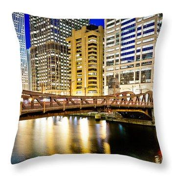 Chicago At Night At Clark Street Bridge Throw Pillow by Paul Velgos