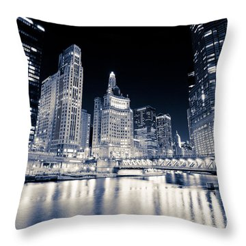 Chicago At Night At Michigan Avenue Bridge Throw Pillow by Paul Velgos