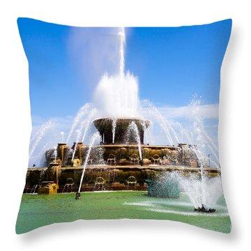 Chicago Buckingham Fountain Throw Pillow by Paul Velgos