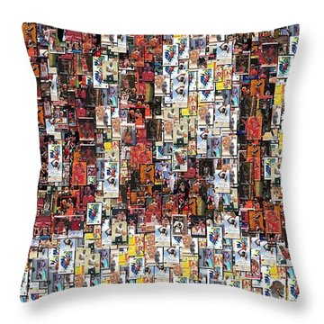 Chicago Bulls Michael Jordan Cards Mosaic Throw Pillow by Paul Van Scott