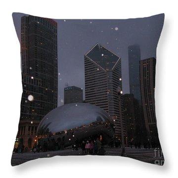 Chicago Cloud Gate At Night Throw Pillow by Ausra Huntington nee Paulauskaite